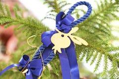 Incanto fortunato di Natale decorativo con i nastri blu e melograno fortunato Immagini Stock