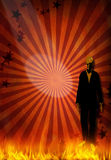 Incarnate. Skeletal Figure in suit on carnival background Royalty Free Stock Images