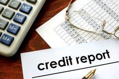 Incarti con il rapporto di credito di parole Immagine Stock Libera da Diritti