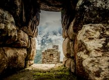 Incas architecture in front of Huayna Picchu royalty free stock image