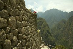 Incas city wall in Peru royalty free stock photo