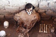 Incas mummy. A ancient incas mummy at chauchilla in peru Royalty Free Stock Image