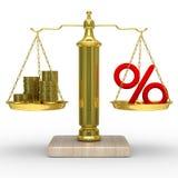 Incassa e le percentuali sui pesi Fotografia Stock Libera da Diritti