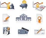 Incassi e finanzia le icone Immagine Stock