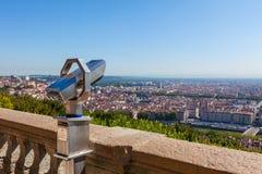 Incastri la trascuratezza per Lione, Francia, paesaggio urbano da sopra Immagine Stock Libera da Diritti