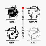 incateni, colleghi, il collegamento, il collegamento, icona del cavo nella linea e nello stile sottili, regolari, audaci di glifo illustrazione vettoriale