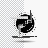 incateni, colleghi, il collegamento, il collegamento, icona di glifo del cavo su fondo trasparente Icona nera illustrazione di stock