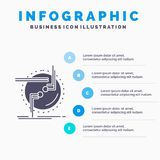 incateni, colleghi, il collegamento, collegamento, modello di Infographics del cavo per il sito Web e la presentazione Icona grig illustrazione vettoriale
