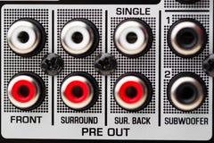 Incavi di RCA di audio amplificatore del ricevitore di bordi Fotografia Stock Libera da Diritti