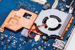 Incavo del fan del CPU sulla scheda madre Immagine Stock Libera da Diritti