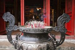 Incence burner in Ngoc Son temple, Hanoi stock images