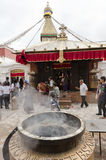 Incence smoke in Boudhanath stupa Stock Images