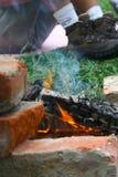 Incendie au camp Image libre de droits