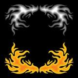 Incendie au-dessus de noir Images stock
