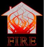 Incendie avec des flammes illustration stock