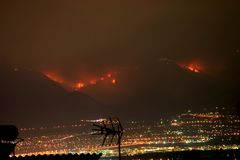 Incendie d'Athènes, Grèce Photos libres de droits