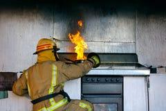 Incendie d'huile de cuisine photos libres de droits