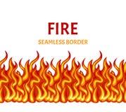 Incendie d'isolement sur le fond blanc Frontière sans couture de flamme de vecteur illustration libre de droits