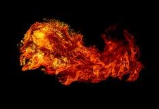 Incendie d'isolement sur le fond noir image stock