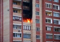 Incendie dans la maison Images libres de droits