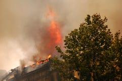 Incendie dans la ville Image stock