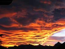 Incendie dans le ciel Photographie stock