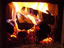 Incendie dans le poêle Photos libres de droits
