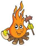 Incendie de camp avec la saucisse Image libre de droits