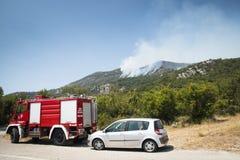 Incendie de forêt dans les montagnes de Monténégro Photo libre de droits