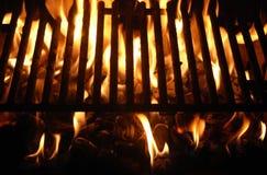 Incendie de gril de BBQ Photographie stock