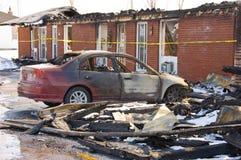 Incendie de motel Photographie stock libre de droits