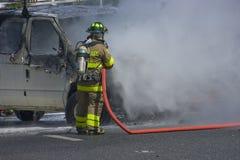 Incendie de véhicule Image libre de droits