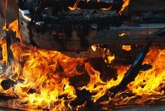 Incendie de véhicule Photos libres de droits