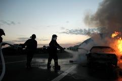 Incendie de véhicule Photo libre de droits