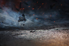 Incendie et cendres sur le vent image libre de droits