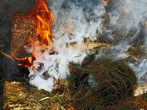 Incendie et fumée Photographie stock