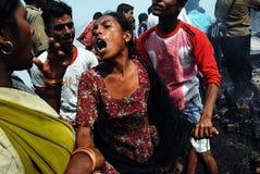 Incendie fréquent à taudis de Kolkata Image libre de droits