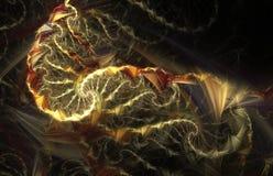 Incendie sauvage Spirales multicolores abstraites sur le fond noir Image libre de droits