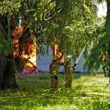Incendie sur la route 13 du comté Photographie stock libre de droits