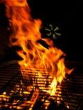 Incendie sur le gril de BBQ Photographie stock libre de droits