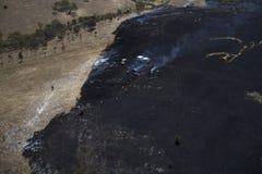 Incendio di arbusti in colline Fotografie Stock Libere da Diritti