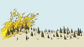 Incendio fuera de control seco de extensión ilustración del vector