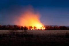 Incendio violento di notte Immagini Stock Libere da Diritti