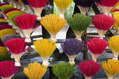 Incense. Large display of colorful Incense sticks on sale at a Vietnam village near Hue Royalty Free Stock Photo