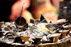 Incense. In buddhist temple in Kathmandu, Nepal Royalty Free Stock Image