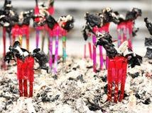 Incense. Closeup of burn joss sticks Stock Image