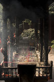Incense. Burning incense in the devout Buddhists royalty free stock photos