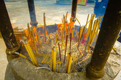 Incense area in Ngong Pin, Lantau Island for visitors to pray in Po Lin Monastery, Lantau Island in Hong Kong.  Stock Images