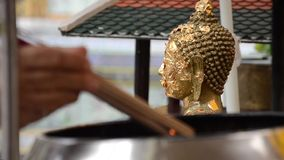 Incense and buddha statue stock video