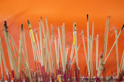 Incense at buddhist temple in thailand Stock Photos